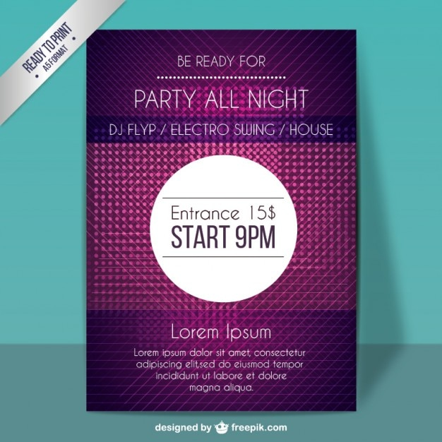 Purple party poster Free Vector