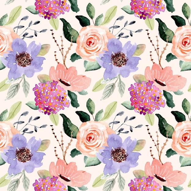 Фиолетовый персик цветок акварель бесшовные модели Premium векторы