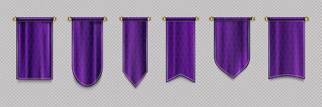 Purple pennant flag set Free Vector