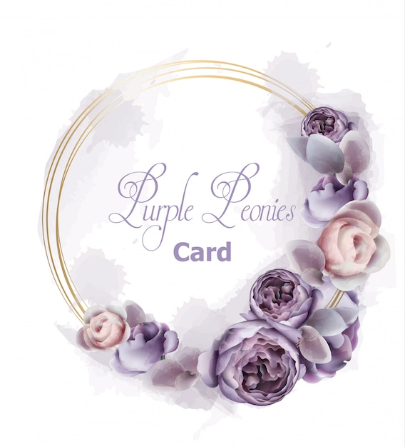 Purple peony flowers wreath card watercolor Premium Vector