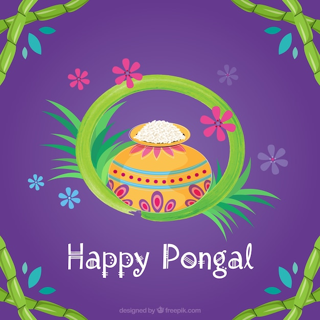 Purple pongal background with rice Free Vector