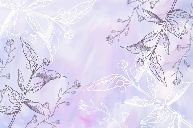 Фиолетовый порошок пастель с рисованной фон цветы Бесплатные векторы