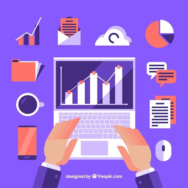 Фиолетовая концепция управления проектами в плоском стиле Бесплатные векторы