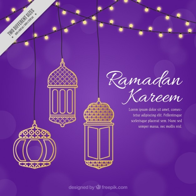 Purple ramadan background with golden decoration Free Vector