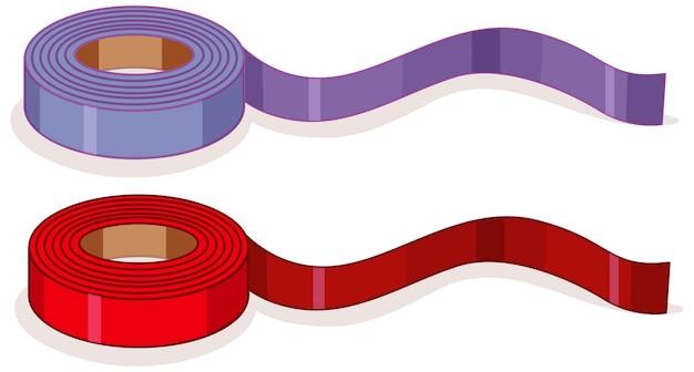 Rotoli viola e rossi del nastro isolati Vettore gratuito