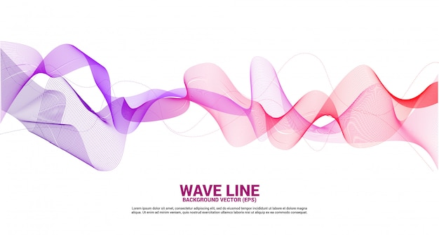 Purple red sound wave line curve on white background. element for theme technology futuristic vector Premium Vector
