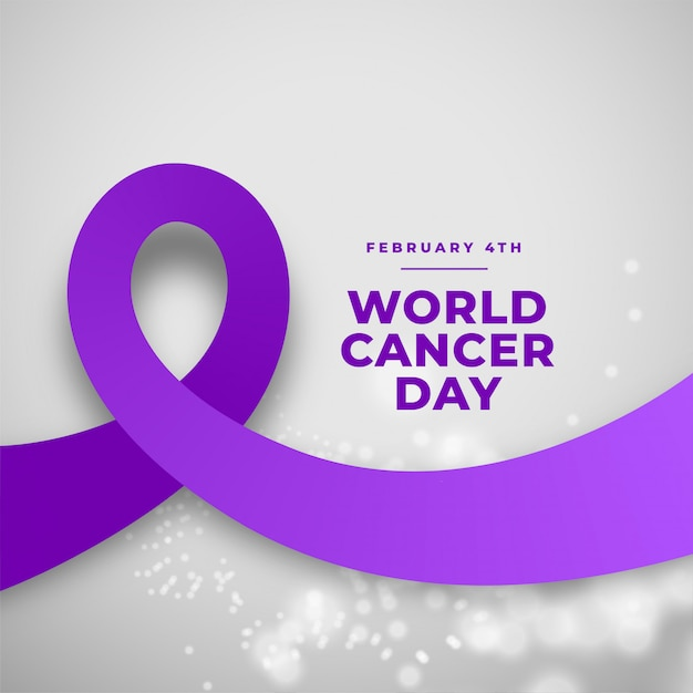 Purple ribbon world cancer day background Free Vector