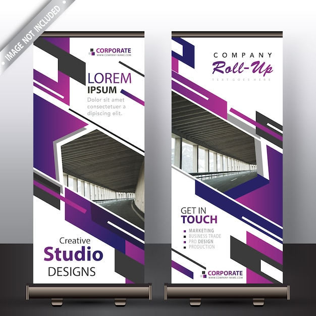 purple roll up banner for commercial vector free download