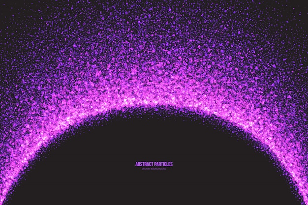 Purple shimmer glowing round particles vector background Premium Vector