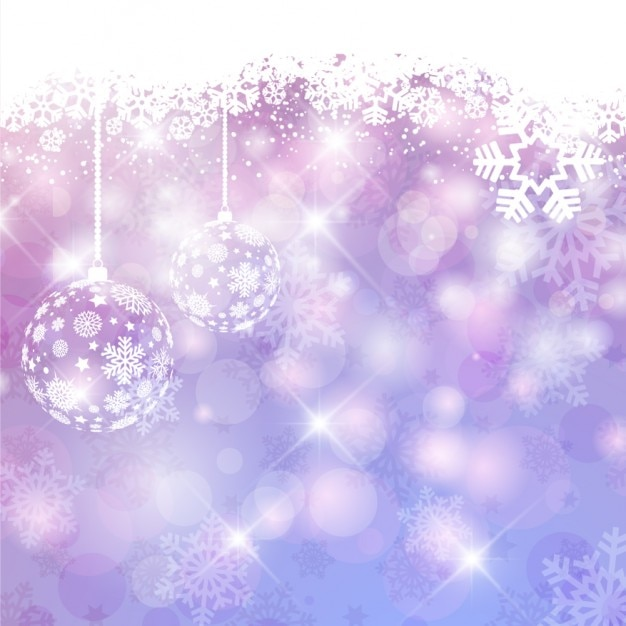 Purple shiny christmas background with baubles Free Vector