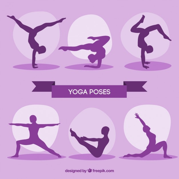 Purple silhouettes yoga poses pack Free Vector