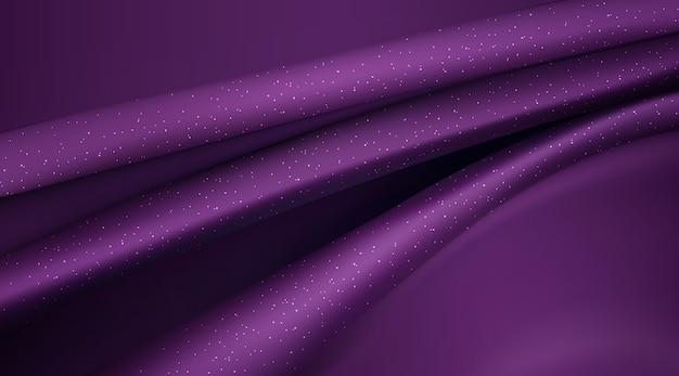 紫色の絹のような生地抽象的な背景3dイラストリアルな渦巻き生地 無料ベクター