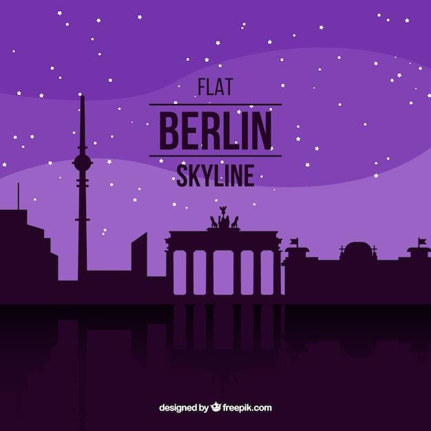 Purple skyline of berlin Free Vector