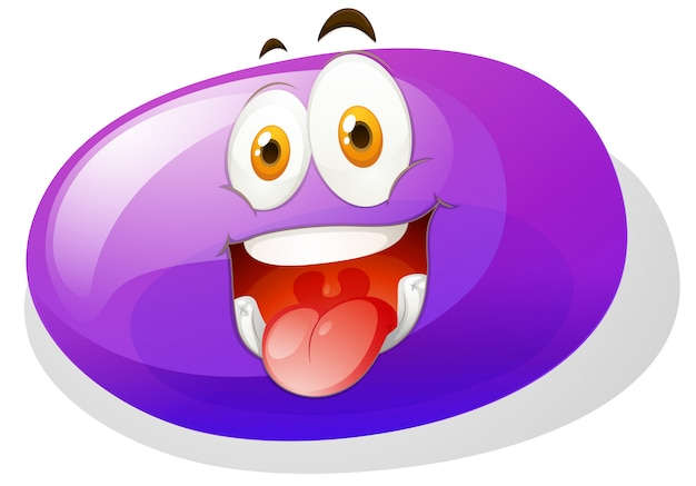 Purple slime with funny face Free Vector