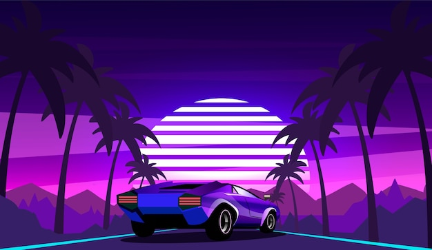 道路沿いのヤシの木がレトロな波の風景の背景に紫のスポーツカー。 80年代のスタイルのベクトルイラスト。 Premiumベクター