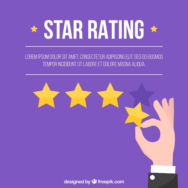 Purple star rating with hand Free Vector