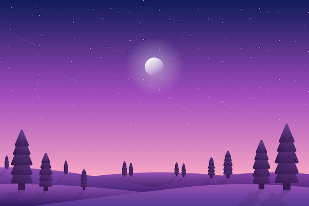 Purple starry night sky landscape with pine forest illustration Premium Vector