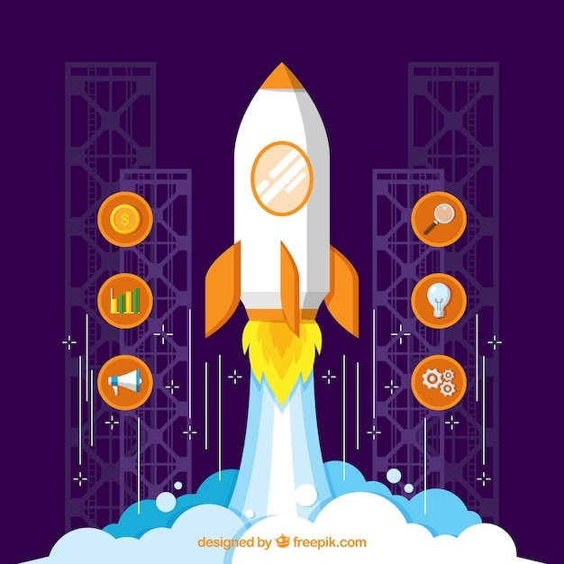 Purple start up concept with rocket Free Vector