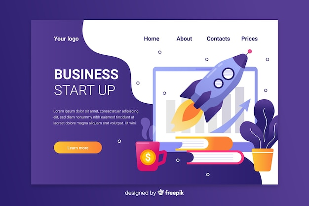 Purple start up landing page with spaceship in charts Free Vector