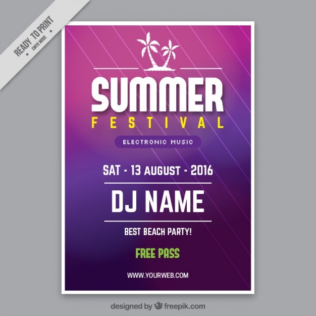 Purple summer festival poster template Vector | Free Download