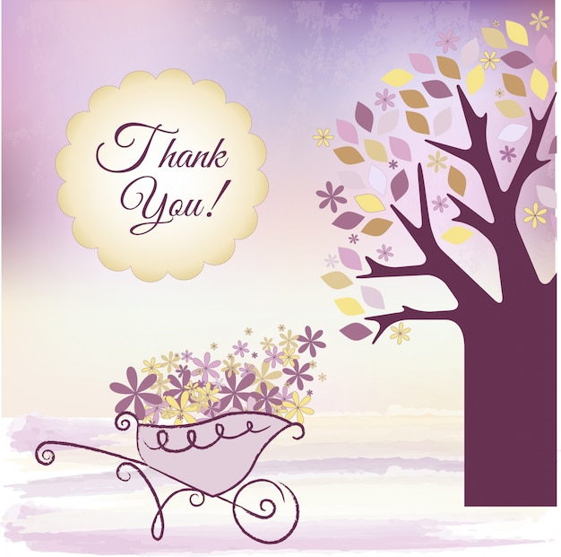 Purple Thank You Card Vector Free Download