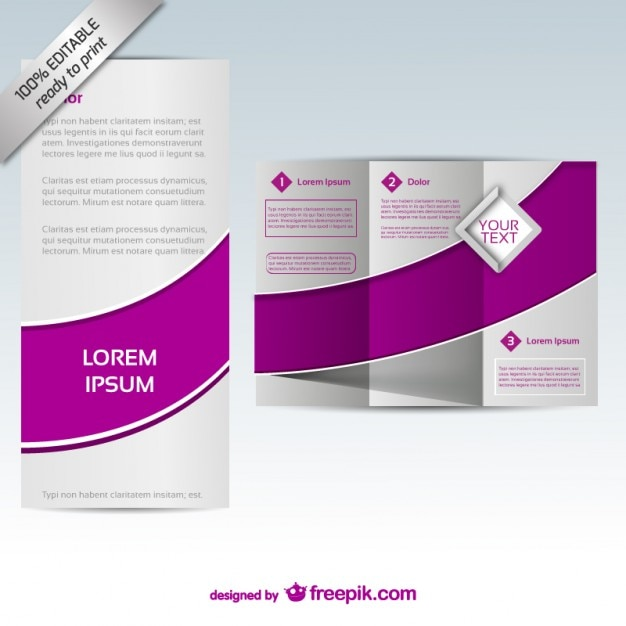 Purple tri fold brochure template vector free download for Free templates for brochures tri fold