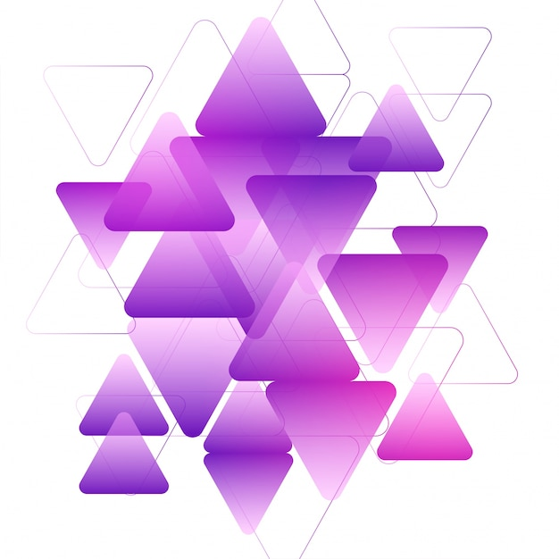 Purple triangles geometric elements, Creative abstract background.