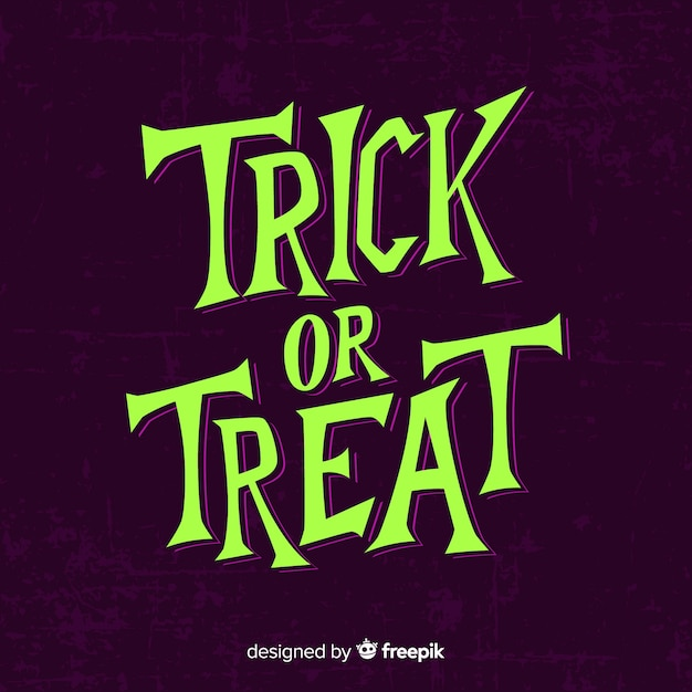 Purple trick or treat lettering for halloween Free Vector