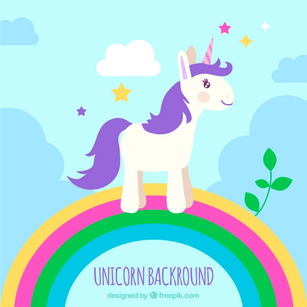 Purple Unicorn On A Rainbow Free Vector