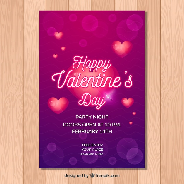Purple Valentine Flyer Template Vector Free Download