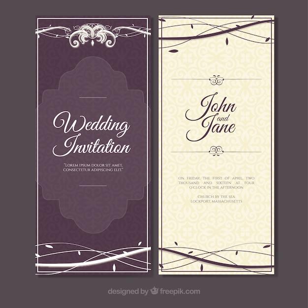 Purple vintage wedding invitation with hand drawn branches vector purple vintage wedding invitation with hand drawn branches free vector stopboris Gallery