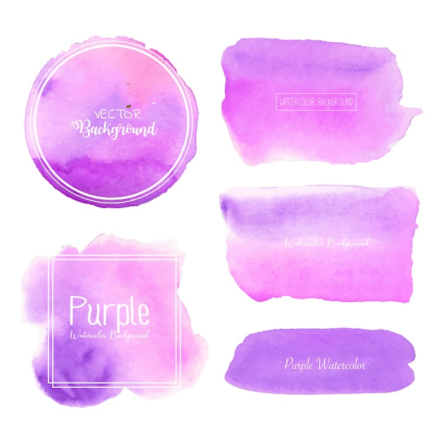 Purple watercolor background, pastel watercolor logo, vector illustration. Premium Vector
