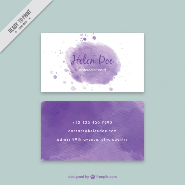 purple watercolor business card vector free download