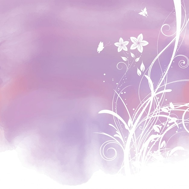purple watercolor floral background vector free download