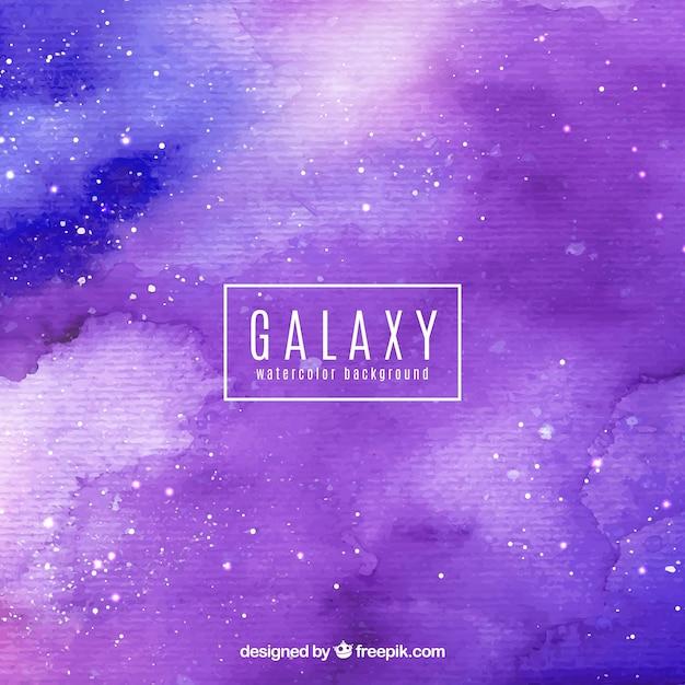 Sfondo di galassia viola di acquerello Vettore gratuito