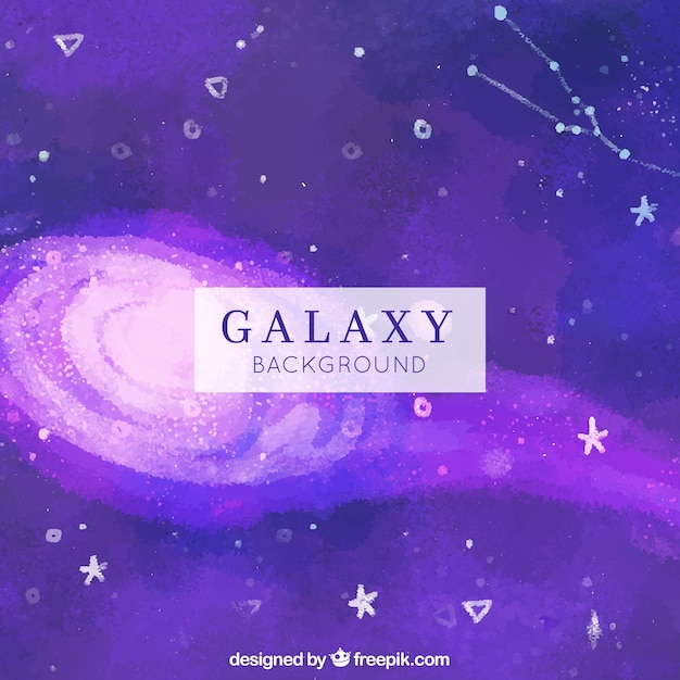 Purple watercolor space background with stars