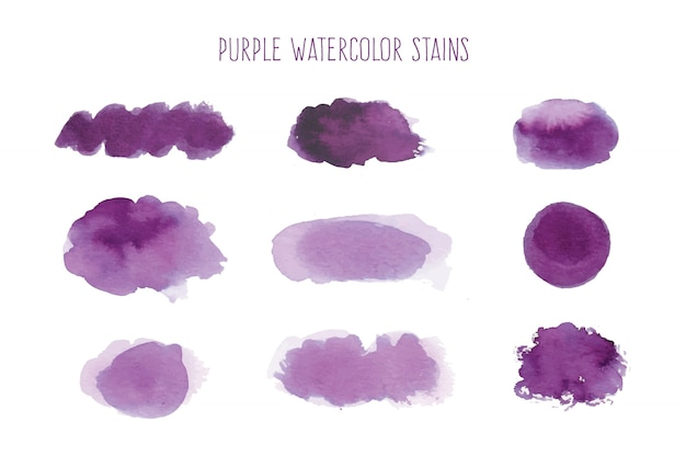 Purple watercolor stain collection Free Vector