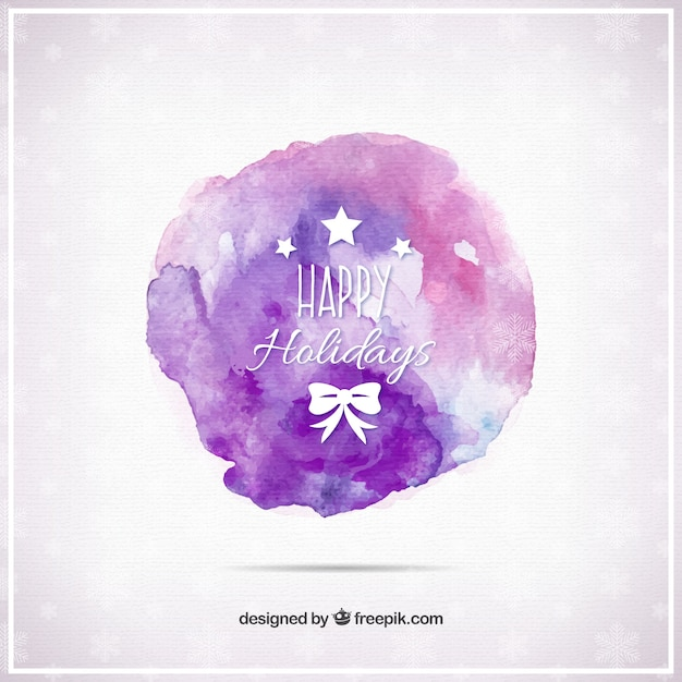 Purple watercolor stain with holidays\ greetings