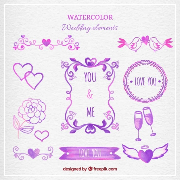 Purple watercolor wedding elements  Free Vector