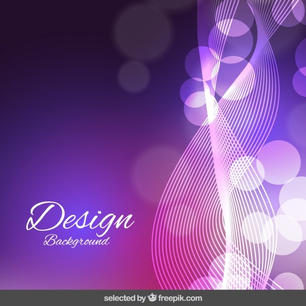 Purple wavy and bokeh background Free Vector