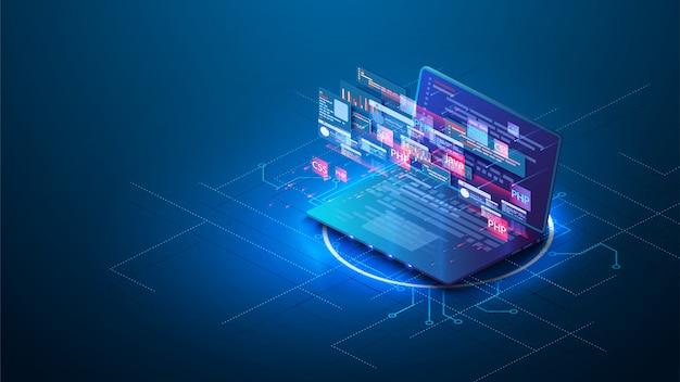 Фиолетовый фон веб-разработки Premium векторы