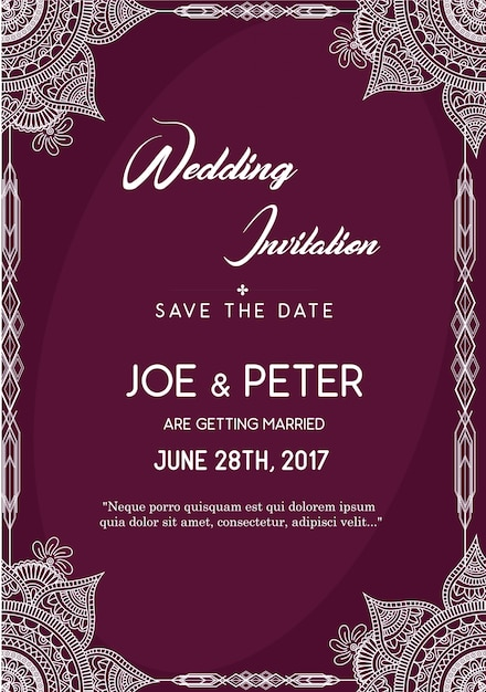 Purple Wedding Invitation Template Vector Free Download