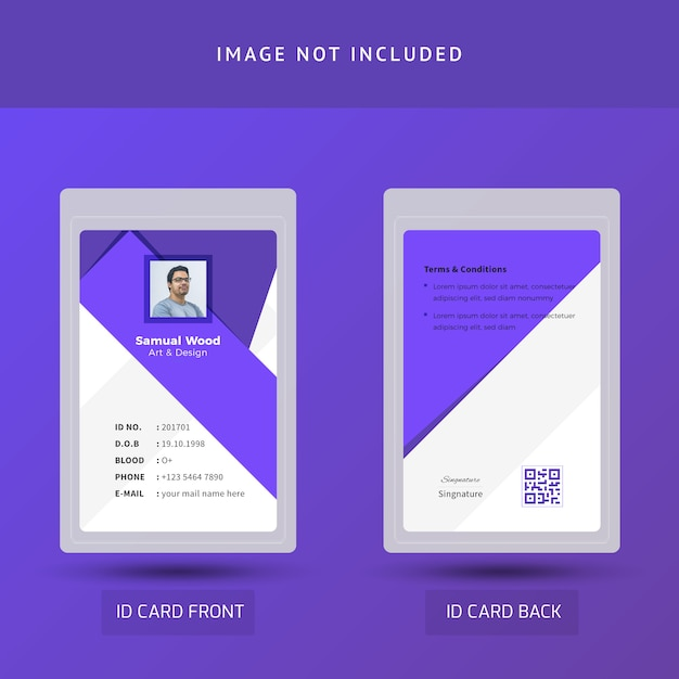 Purple and white beautiful office id card Premium Vector