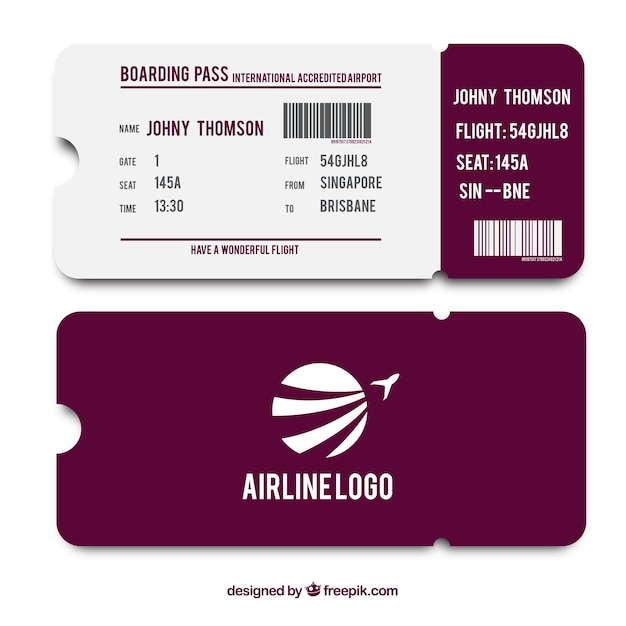 Purple and white boarding pass template Vector | Free Download
