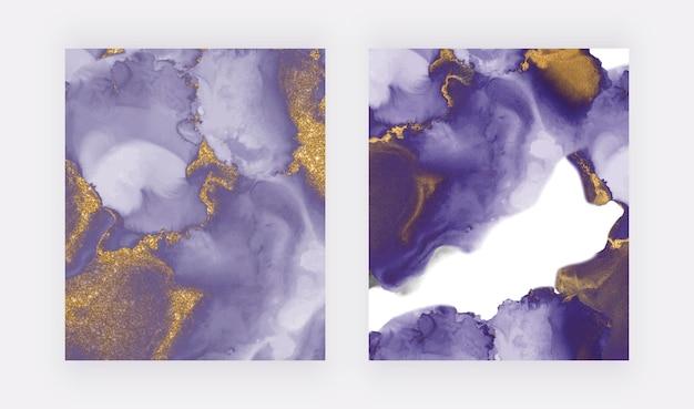 Фиолетовый с золотыми чернилами, акварель Premium векторы