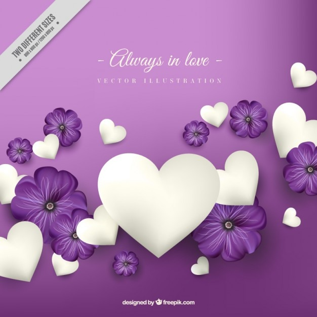 Purple with white hearts love background