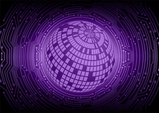Purple world cyber circuit future technology concept background Premium Vector