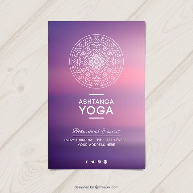 Purple Yoga Flyer Vector  Free Download