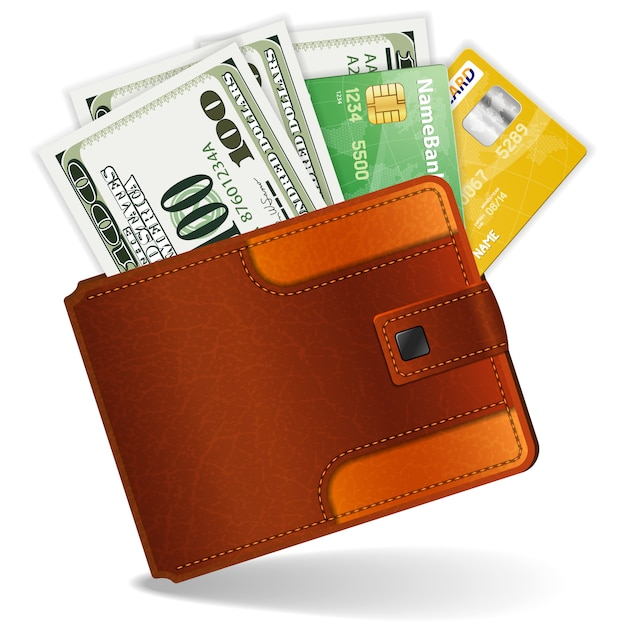 Purse with dollars and credit cards Premium Vector