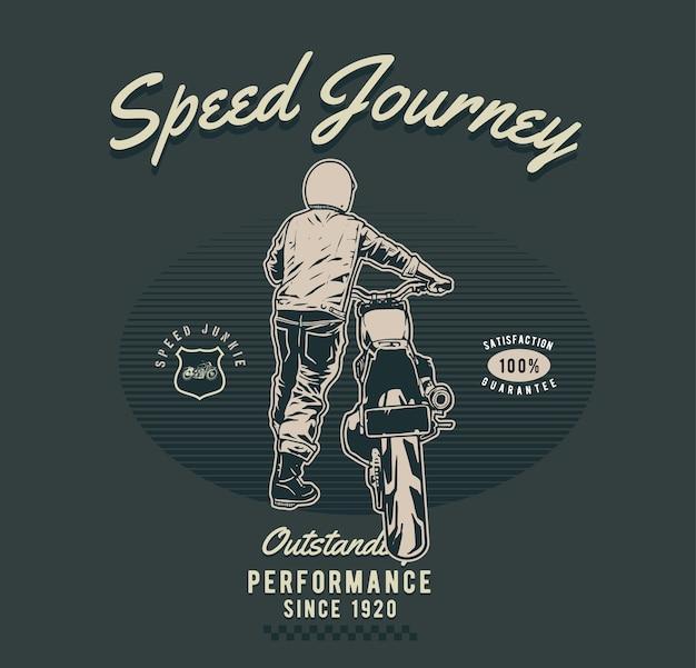 Push the motorcycle Premium Vector